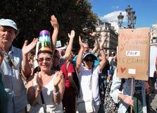 Marche voor het klimaat - Ecologische demonstratie De Zaterdag van Parijs Frankrijk, 08 September, 2018 royalty-vrije stock foto's