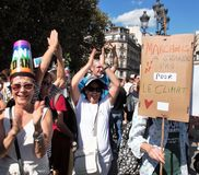 Marche voor het klimaat - Ecologische demonstratie De Zaterdag van Parijs Frankrijk, 08 September, 2018 royalty-vrije stock afbeeldingen