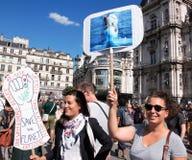 Marche voor het klimaat - Ecologische demonstratie De Zaterdag van Parijs, 08 September, 2018 stock foto's