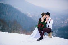Marchent le marié et la jeune mariée dans les montagnes carpathiennes Photo stock