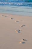 Marchepieds dans le sable images stock