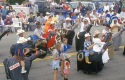 Marchers in July 4th Parade, Cayucos, California Royalty Free Stock Images
