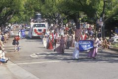 Marchers in July 4th Parade, Pacific Palisades, California Royalty Free Stock Images