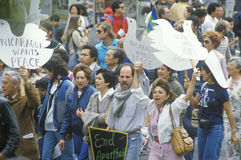 Marchers protesting US intervention In El Salvador Royalty Free Stock Photo