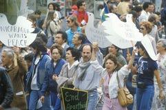 Marchers protesting US intervention In El Salvador. Los Angeles, California Royalty Free Stock Photo