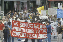 Marchers protesting US intervention In El Salvador. Los Angeles, California Stock Photos