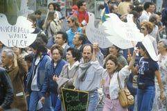 Marchers protesting US intervention In El Salvador, Los Angeles, California Royalty Free Stock Image