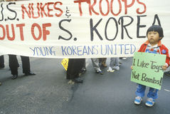 Marchers protesting US intervention In South Korea Stock Image