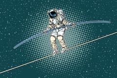 Marcheur de corde raide d'astronaute, les risques d'un chercheur de la science illustration libre de droits