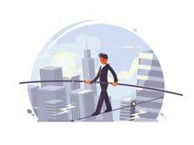 Marcheur de Tightrope allant sur la corde illustration libre de droits