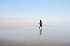 Marcheur solitaire de plage Photographie stock libre de droits