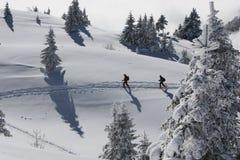 Marcheurs en montagnes neigeuses images libres de droits