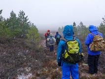 Marcheurs sur une colline dans la neige photographie stock libre de droits