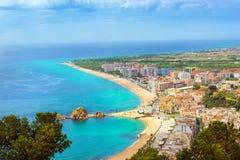 Marchez la station balnéaire Blanes, château San Juan, Espagne Images libres de droits