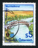 Marchfeld Canal. AUSTRIA - CIRCA 1992: stamp printed by Austria, shows Marchfeld Canal, circa 1992 royalty free stock photo