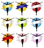 Marchi femminili della bandiera della siluetta Immagini Stock Libere da Diritti