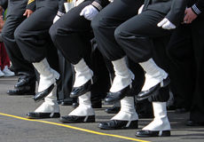 Marching. Marine's feet, boots of black and white marching in cadence stock image