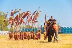 Marching Army Elephant General Flags Stock Photos