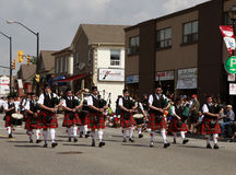 Marching bagpipes band Royalty Free Stock Images