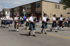 Marching bagpipes band Stock Photography