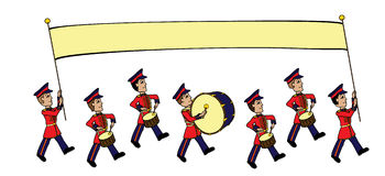Marching Band. Image of a cartoon style marching band carrying a banner suitable for your own text. In the version, the banner and each of the men are on royalty free illustration