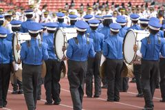 Marching Band. Boys marching band performing at a stadium in Kuala Lumpur, Malaysia royalty free stock image