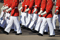Marching Band. Members of the United States Marine Corps Marching Band walk in unison royalty free stock images