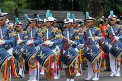Marching band. Air Force Academy marching band in action on the streets during a parade in the city of Solo, Central Java, Indonesia Stock Photo