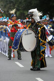 Marching band. Air Force Academy marching band in action on the streets during a parade in the city of Solo, Central Java, Indonesia Stock Image