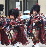 Marching Band With Bagpipes Royalty Free Stock Photos