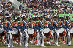 Marching band. S from the military academy enliven the ceremony in the city of Solo, Central Java, Indonesia Royalty Free Stock Photography