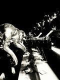 Marching Band. Black and white picture of drum line in marching band Stock Images