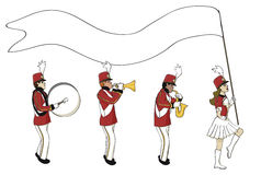Marching band with blank banner Stock Photos