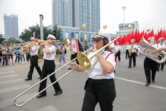 Marching band,Carnival parade 2013, Liuzhou,China Royalty Free Stock Photo