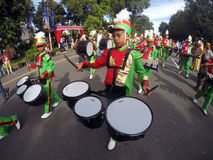 Marching band. Children elementary school students participate in the competition marching band in the city of Solo, Central Java, Indonesia Stock Photography