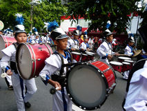 Marching band. Children are following the marching band competition in the city of Solo, Central Java, Indonesia Stock Image