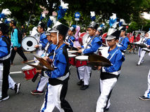 Marching band. Children are following the marching band competition in the city of Solo, Central Java, Indonesia Stock Photos