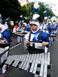 Marching band. Children are following the marching band competition between schools in the city of Solo, Central Java, Indonesia Stock Image