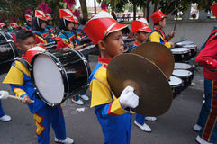 Marching band. Children were following marching band contest in the city of Solo, Central Java, Indonesia Royalty Free Stock Image