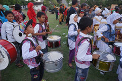 Marching band. Children were practicing marching band in the city of Solo, Central Java, Indonesia Stock Photo