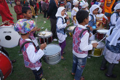 Marching band. Children were practicing marching band in the city of Solo, Central Java, Indonesia Stock Photography