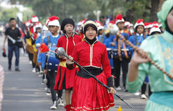 Marching band. The delegation marching bands enliven carnival culture, in the middle Solo, central,Jawa city, Indonesia Stock Photos