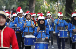 Marching band. The delegation marching bands enliven carnival culture, in the middle Solo,central,Jawa city, Indonesia Stock Images