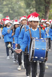 Marching band. The delegation marching bands enliven carnival culture, in the middle Solo,central,Jawa city, Indonesia Royalty Free Stock Image