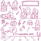 Marching Band Doodles. Marching band elements drawn in a doodled style Royalty Free Stock Photo