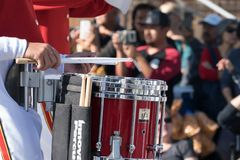 Marching band Drummer close up. PASADENA, CALIFORNIA - JANUARY 1, 2018: 129th Rose Parade, America`s New Year Celebration, a greeting to the world on the first royalty free stock images