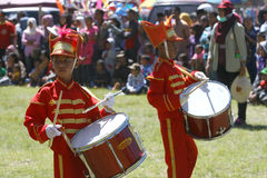 Marching band. Elementary students are following the marching band competition in a field in Boyolali, Central Java, Indonesia Royalty Free Stock Photography