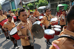 Marching band. Elementary students are practicing marching band outside the classroom in the city of Solo, Central Java, Indonesia Royalty Free Stock Photography