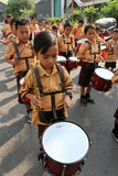 Marching band. Elementary students are practicing marching band outside the classroom in the city of Solo, Central Java, Indonesia Royalty Free Stock Photos