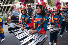 Marching band. Elementary students were preparing to parade marching band in the city of Solo, Central Java, Indonesia Royalty Free Stock Images